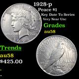 1928-p Peace Dollar $1 Grades Choice AU/BU Slider