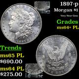 1897-p Morgan Dollar $1 Grades Choice Unc+ PL