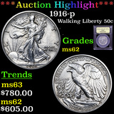 ***Auction Highlight*** 1916-p Walking Liberty Half Dollar 50c Graded Select Unc By USCG (fc)