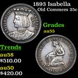 1893 Isabella Isabella Quarter 25c Grades Choice AU