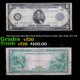 1914 $5 Large Size Blue Seal Federal Reserve Note, New York, NY 2-B Grades vf, very fine
