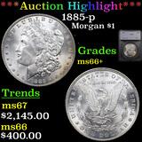***Auction Highlight*** 1885-p Morgan Dollar $1 Graded ms66+ By SEGS (fc)