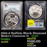 PCGS 2001-d Buffalo Black Diamond Modern Commem Dollar $1 Graded ms69 By PCGS