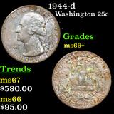 1944-d Washington Quarter 25c Grades GEM++ Unc