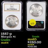 NGC 1887-p Morgan Dollar $1 Graded ms64 By NGC