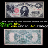 1917 $1 Large Size Legal Tender, Signatures of Spellman & White, FR39  Grades xf