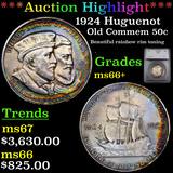 ***Auction Highlight*** 1924 Huguenot Old Commem Half Dollar 50c Graded ms66+ By SEGS (fc)