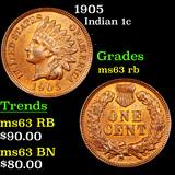 1905 Indian Cent 1c Grades Select Unc RB