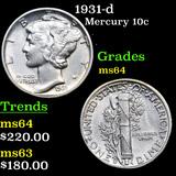 1931-d Mercury Dime 10c Grades Choice Unc