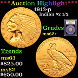 ***Auction Highlight*** 1913-p Gold Indian Quarter Eagle $2 1/2 Graded Select Unc By USCG (fc)