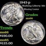 1943-p Walking Liberty Half Dollar 50c Grades GEM+ Unc