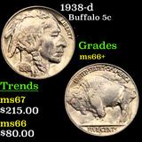 1938-d Buffalo Nickel 5c Grades GEM++ Unc