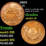 1865 Two Cent Piece 2c Grades Select Unc RB