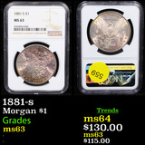 NGC 1881-s Morgan Dollar $1 Graded ms63 By NGC