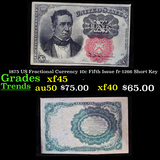 1875 US Fractional Currency 10c Fifth Issue fr-1266 Short Key Grades xf+