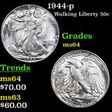 1944-p Walking Liberty Half Dollar 50c Grades Choice Unc