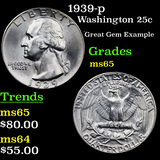 1939-p Washington Quarter 25c Grades GEM Unc