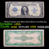 1923 $1 large size Blue Seal Silver Certificate, Grades vf+
