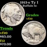 1913-s Ty I Buffalo Nickel 5c Grades vf, very fine
