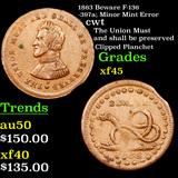 1863 Beware F-136-397a; Minor Mint Error Civil War Token 1c Grades xf+