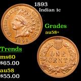 1893 Indian Cent 1c Grades Choice AU/BU Slider+
