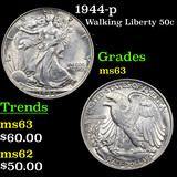 1944-p Walking Liberty Half Dollar 50c Grades Select Unc