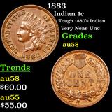 1883 Indian Cent 1c Grades Choice AU/BU Slider