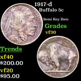 1917-d Buffalo Nickel 5c Grades vf++
