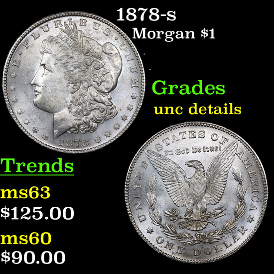 1878-s Morgan Dollar $1 Graded Unc Details