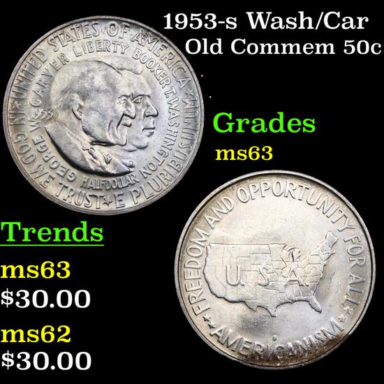 1953-s Wash/Car Old Commem Half Dollar 50c Graded Select Unc
