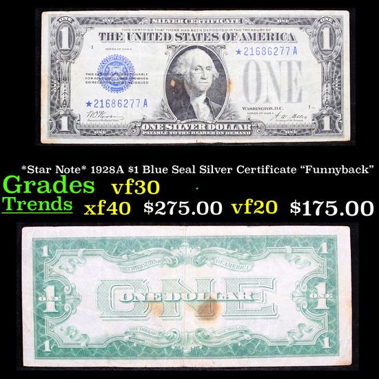 "*Star Note* 1928A $1 Blue Seal Silver Certificate ""Funnyback"" Grades vf++"