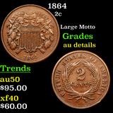 1864 Two Cent Piece 2c Graded AU Details
