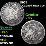 1809 Capped Bust Half Dollar 50c Graded vf++