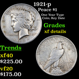 1921-p Peace Dollar $1 Graded xf details