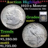 ***Auction Highlight*** 1923-s Monroe Old Commem Half Dollar 50c Graded ms65+ By SEGS (fc)