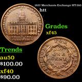 1837 Merchants Exchange HT-293 Hard Times Token 1c Graded xf+