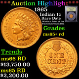 ***Auction Highlight*** 1865 Indian Cent 1c Graded Gem+ Unc RD By USCG (fc)