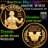 Proof ***Auction Highlight*** 1993-W WWII Gold Modern Commem $5 Graded GEM++ Proof Deep Cameo By USC