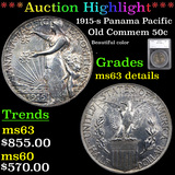 ***Auction Highlight*** 1915-s Panama Pacific Old Commem Half Dollar 50c Graded ms63 details By SEGS