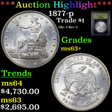 ***Auction Highlight*** 1877-p Trade Dollar $1 Graded Select+ Unc By USCG (fc)