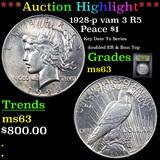 ***Auction Highlight*** 1928-p vam 3 I2 R5 Peace Dollar $1 Graded Select Unc By USCG (fc)