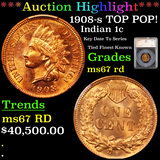 ***Auction Highlight*** 1908-s TOP POP! Indian Cent 1c Graded ms67 rd By SEGS (fc)