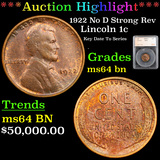 ***Auction Highlight*** 1922 No D Strong Rev Lincoln Cent 1c Graded ms64 bn By SEGS (fc)