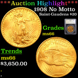 ***Auction Highlight*** 1908 No Motto Saint-Gaudens $20 Gold Double Eagle Graded ms66 By SEGS (fc)