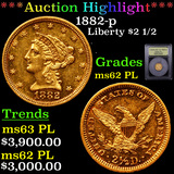 ***Auction Highlight*** 1882-p Gold Liberty Quarter Eagle $2 1/2 Graded Select Unc PL By USCG (fc)