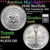 ***Auction Highlight*** 1936 Norfolk Old Commem Half Dollar 50c Graded ms68 By SEGS (fc)