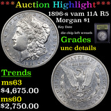 ***Auction Highlight*** 1896-s vam 11A R5 Morgan Dollar $1 Graded Unc Details By USCG (fc)