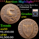 ***Auction Highlight*** 1787 New Jersey Maris 48-g Colonial Cent 1c Graded xf45 By SEGS (fc)