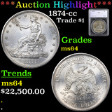 ***Auction Highlight*** 1874-cc Trade Dollar $1 Graded ms64 By SEGS (fc)