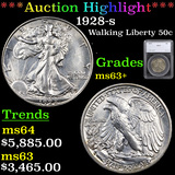 ***Auction Highlight*** 1928-s Walking Liberty Half Dollar 50c Graded ms63+ By SEGS (fc)
